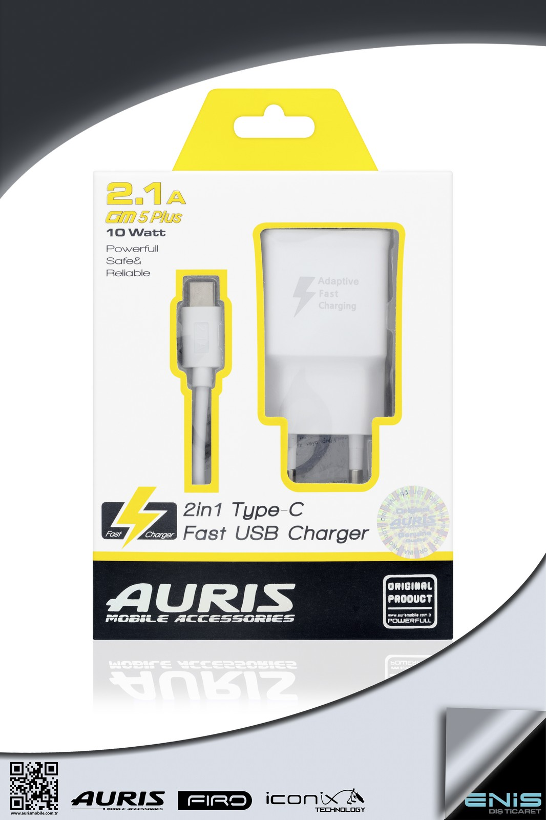 2in1 TYPE-C USB FAST CHARGER 2-1A GM5 PLUS