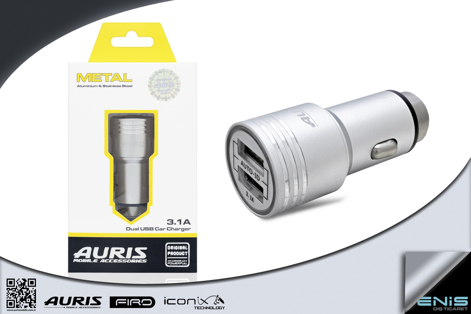 Metal Usb Car Charger 3.1A