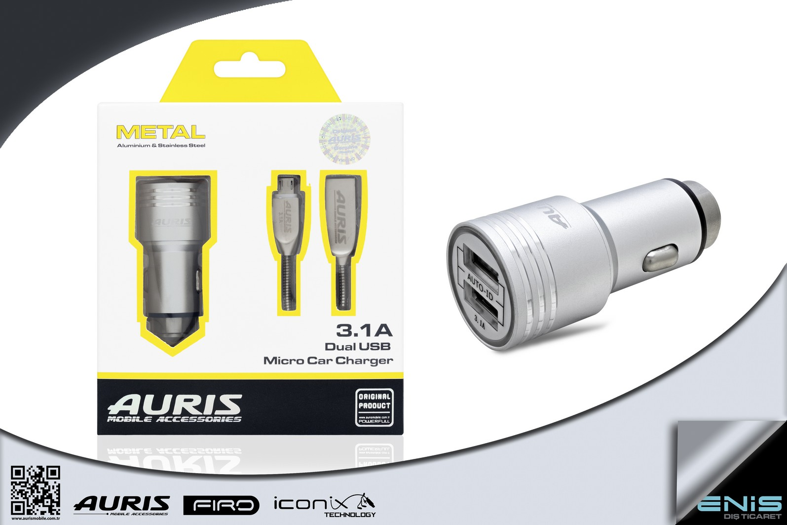 Metal Dual Usb Micro Car Charger 3.1A