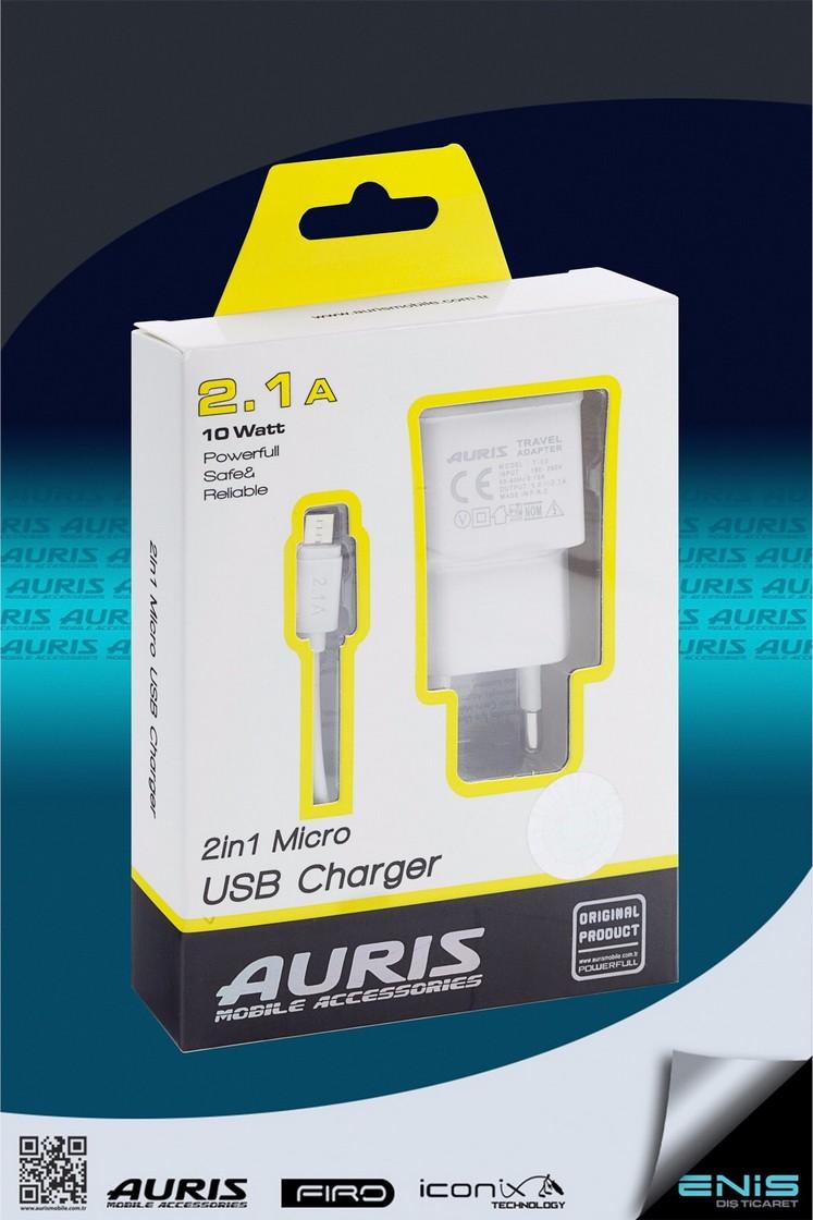 Tek Usb Girişli 2in 1 Micro Usb Kablolu Şarj Cihazı Beyaz