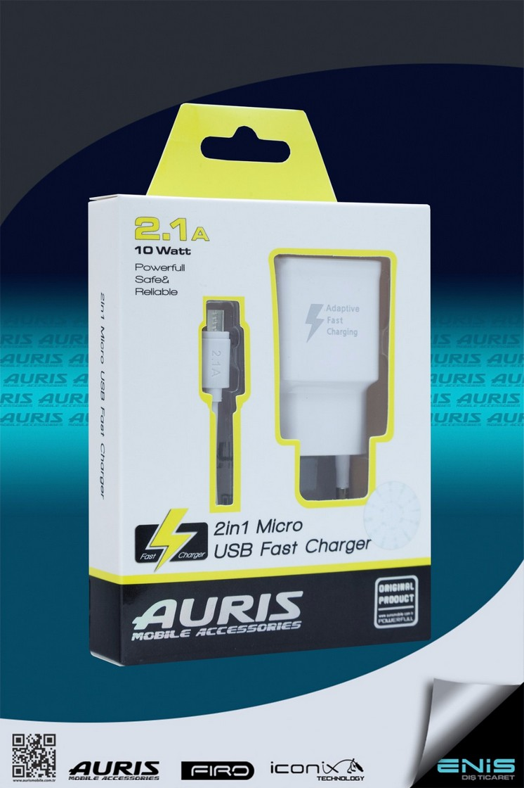 Tek Usb Girişli 2in 1 Micro Usb Hızlı Şarj Cihazı Beyaz
