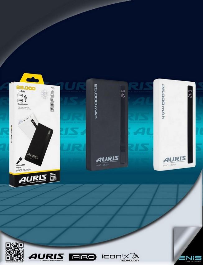 Auris 25.000 mah. Lcd Ekranlı Powerbank