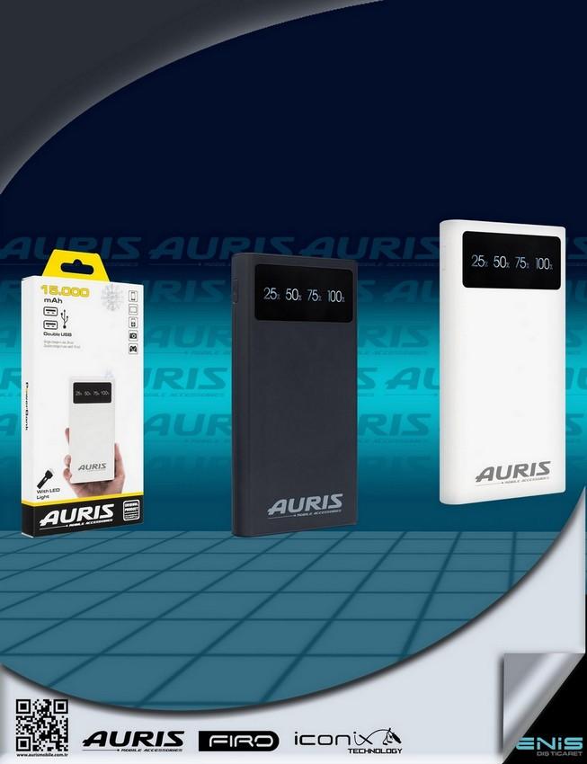 Auris 15.000 mah.Lcd Ekranlı Powerbank