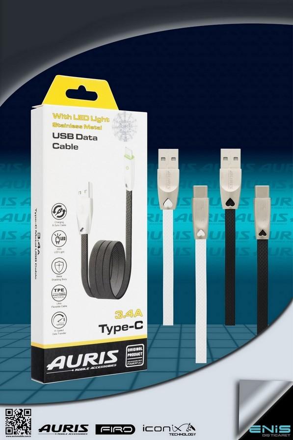 Led Işıklı Metal Usb Kablo Type-c