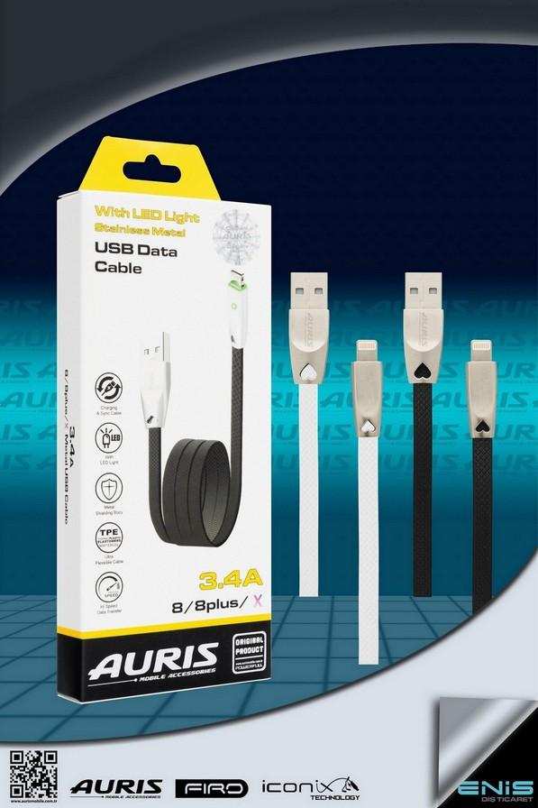 Led Işıklı Metal Usb Kablo 8-8PLUS-X