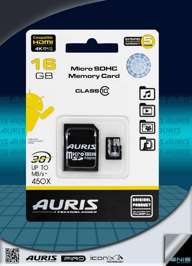 Auris 16GB Micro Hafıza Kartı Class 10