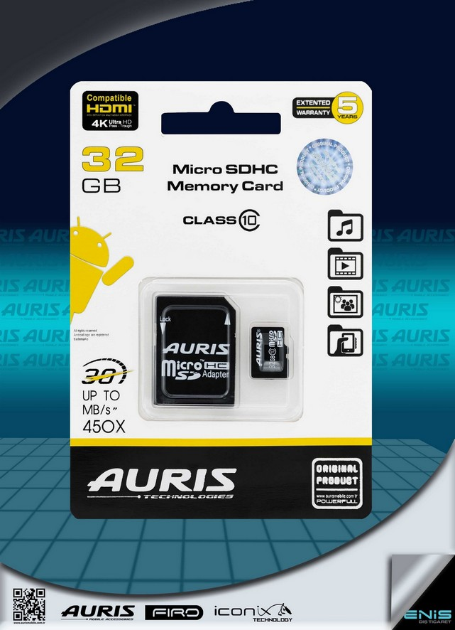 Auris 32GB Micro Hafıza Kartı Class 10