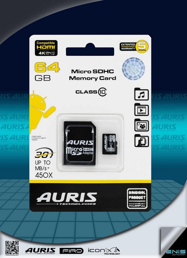 Auris 64GB Micro Hafıza Kartı Class 10