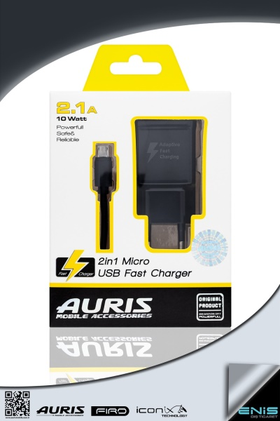 One Usb 2in1 Fast Charger Used For Micro Usb Black