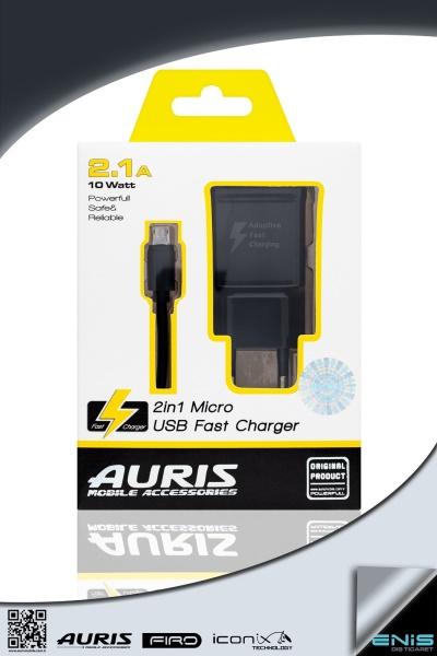 Tek Usb Girişli 2in 1 Micro Usb Hızlı Şarj Cihazı Siyah