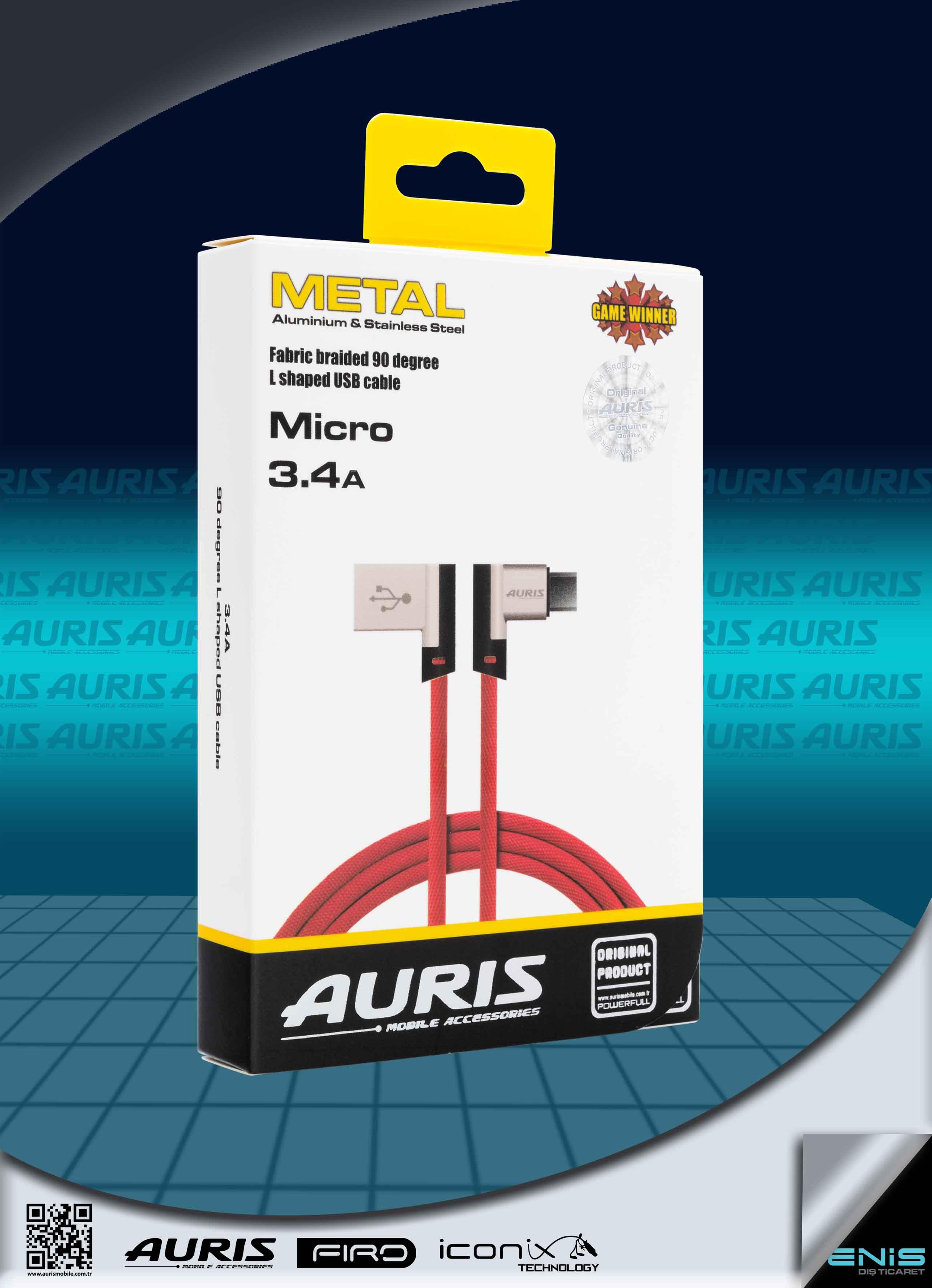 Auris Yan Girişli İpli Oyun Kablosu Micro 3.4A